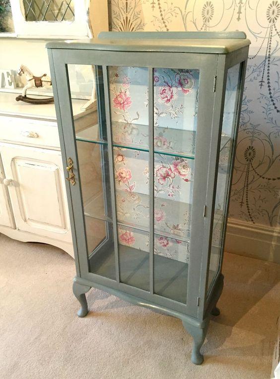 Duck Egg Glass Display Storage Cabinet Annie Sloan Ornate Shabby Vintage Chic