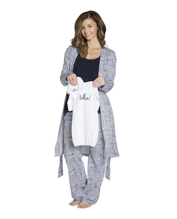 Harper Maternity/Nursing PJ'S,Robe & White Baby Receiving Gown Set