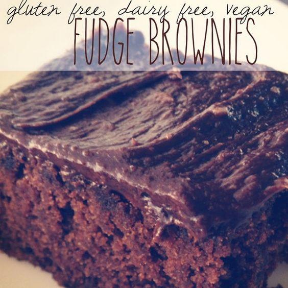 Fudge Brownies (Gluten Free, Dairy Free, Egg Free, Vegan) ~Did 1/2 almond 1/2 brown rice flour