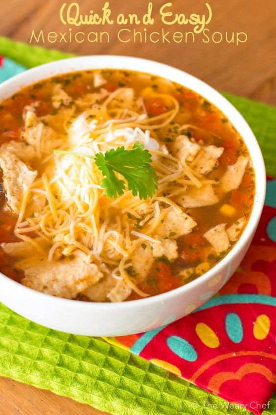 This Mexican chicken soup recipe could literally be made in 10 minutes if you have diced, cooked chicken on hand! It's a perfectly quick and tasty weeknight dinner.: