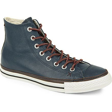 """CONVERSE """"clean crafted"""" high tops in chocolate and navy leather"""