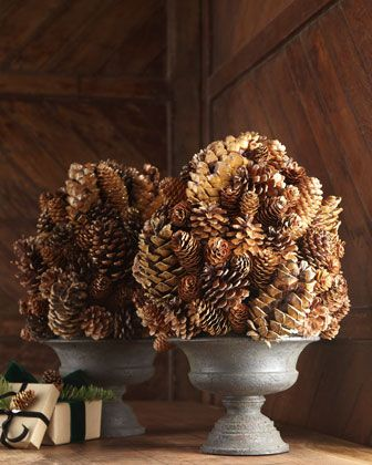 fall into Christmas tablescape..Pine Cone Topiary. A fresh take on traditional topiaries, this pine cone topiary adds a natural touch to fall and holiday decorating. DIY?