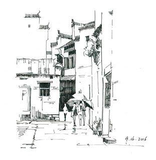 "qiang-huang, a daily painter: ""Xidi in the rain 2"""