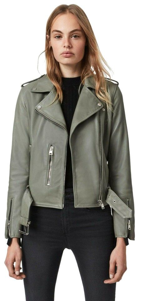 """This is a sage green AllSaints Balfern Leather Biker Jacket in size US 4. Runs small; order one size up. Rock a classically cool look with this buttery-soft leather moto jacket featuring silvertone hardware and a buckle belt to adjust the fit. Pit to pit is 18"""" Sleeve to shoulder is 22"""" Shoulder to shoulder is 15.5"""" Back length is 19.5"""" Asymmetrical front-zip closure Notch lapels Long sleeves with zip cuffs Front zip pockets Epaulets Buckle belt Lined Leather Professional leather clean  