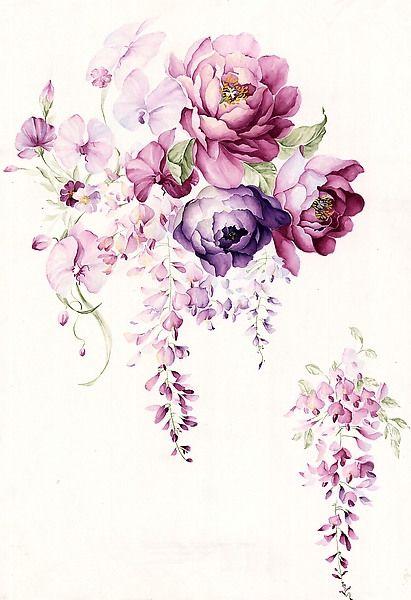 水彩手绘 花碎花 田园墙纸 背景素材平铺 iP…_来自麽麽的图片分享: