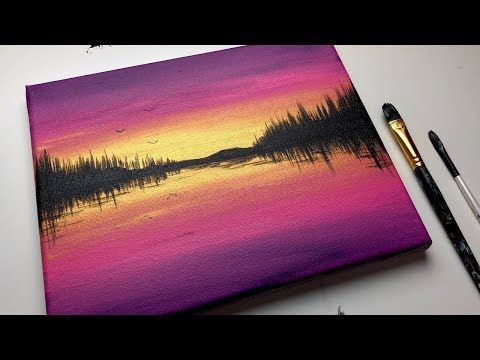 Glowing Acrylic Sunset Painting For Beginners Sunset Landscape Painting Sunset Acrylic Tu Sunset Painting Sunset Painting Acrylic Sunset Landscape Painting