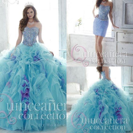 Cheap Floral azul Quinceanera vestidos vestidos de 15 años con desmontable tren vestido de bola con