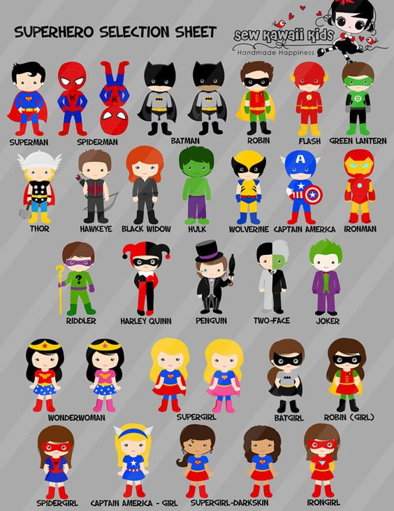 Superhero Birthday Party Supplies Diy Character por SewKawaiiKids