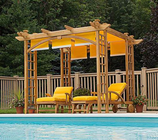 Pergola Design Ideas pergola designs for backyard Japanese Pergola Design Ideas I Love The Yellow Strips Of Fabric With Dowels For Weight