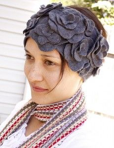 floral earwarmers from recycled cardi