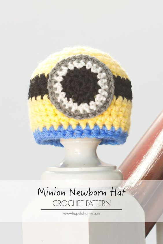 Newborn Minion Inspired Hat Crochet Pattern | Sombreros, Patrones y ...
