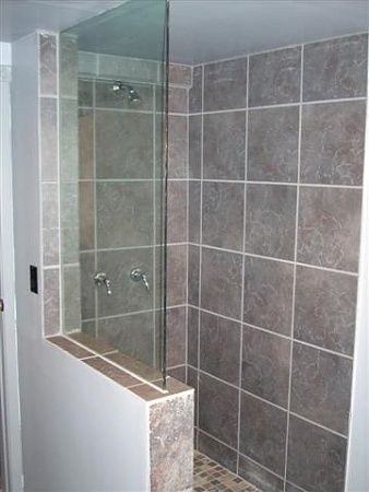 Half wall frameless shower screen bathroom pinterest for Half wall shower glass