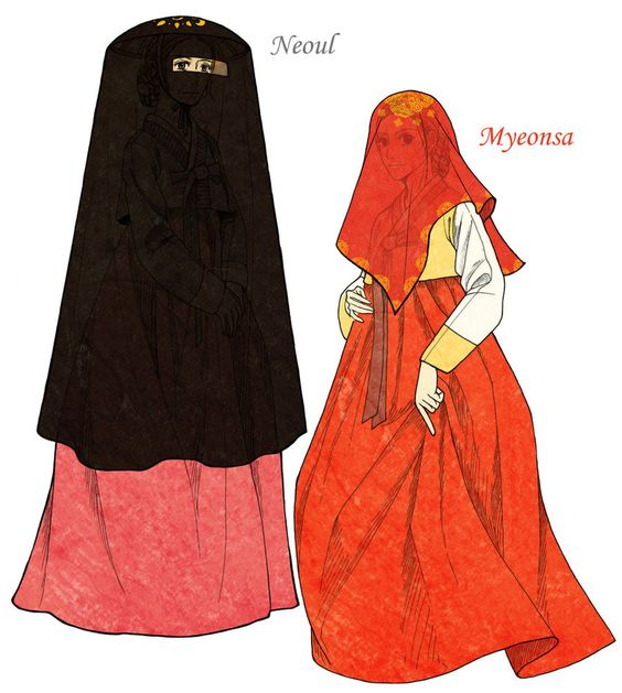 During The Joseon Dynasty Women Hid Their Face When They Went Outto Keep Distance From Men The In 2021 Korean Traditional Dress Traditional Outfits Oriental Fashion