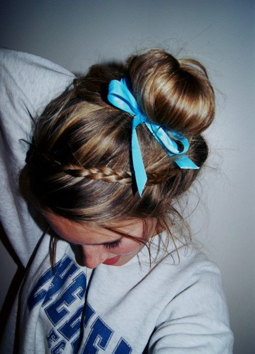 Simple bun with small braid & ribbon.