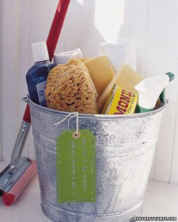Car Wash Kit - for the guy or teen in your life!  Give him something he can really use: elbow grease. Fill a galvanized bucket with car-washing necessities such as a chamois or diaper cloth, soap, wax, glass cleaner, natural sponges, and a squeegee; then attach a coupon for three car washings.