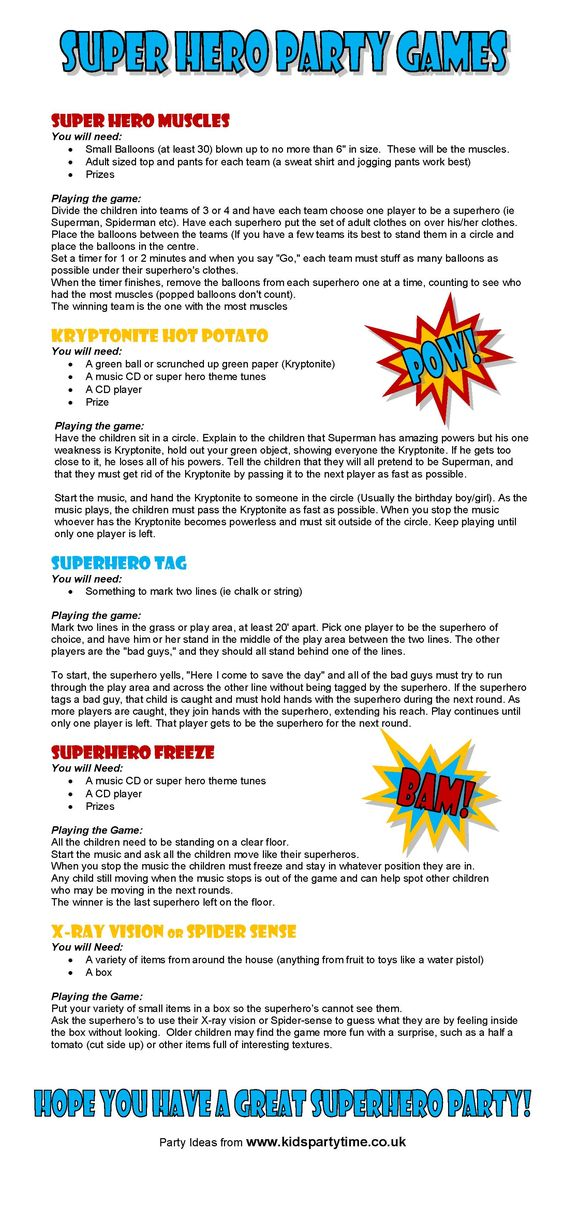 Super Hero Party Game Ideas