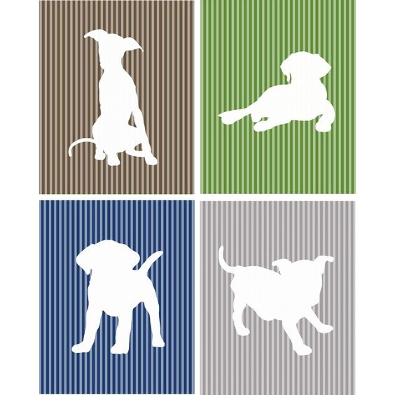 This modern graphic wall art set contains four (4) 8-inch x 10-inch prints. The Playful Puppies for Boys set features four puppy silhouettes on colorful pattern backgrounds.