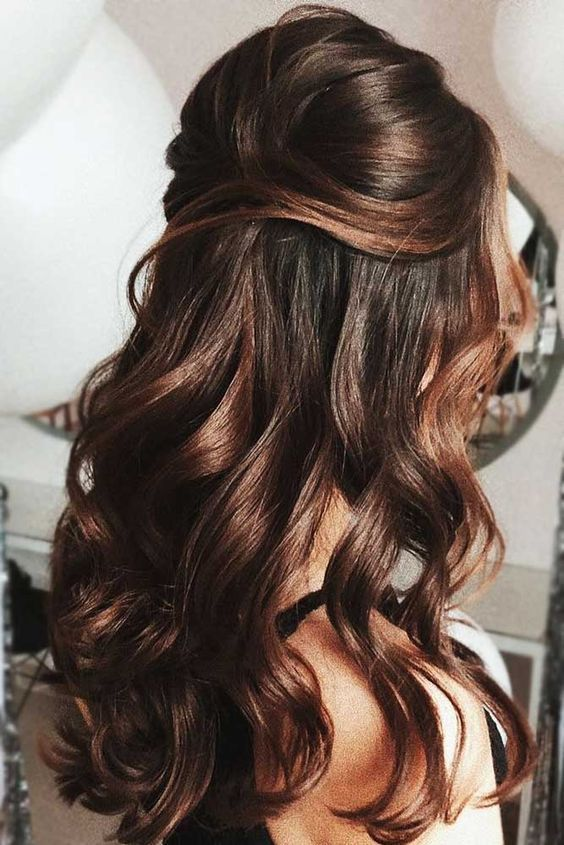 28 Captivating Half Up Half Down Wedding Hairstyles Brunette Wedding Hairstyle With Natural Curls V Half Up Half Down Hair Prom Hair Styles Down Hairstyles