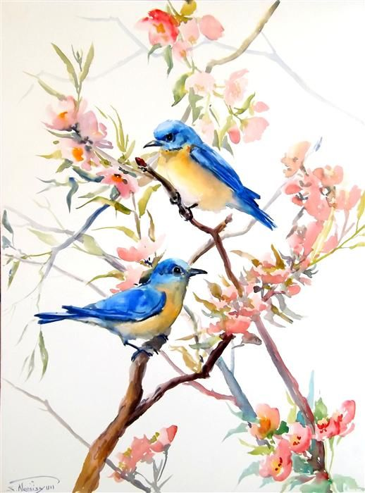 Easy watercolor paintings of spring landscapes images for Spring flowers watercolor