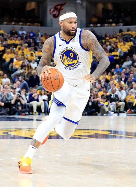 timeless design 88e1c fa0bf DeMarcus Cousins of the Golden State Warriors dribbles the ...