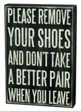 PLEASE REMOVE YOUR SHOES WORD PLAQUE