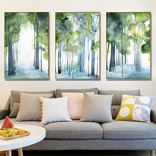 Canvas Art Abstract Nature Landscape Painting Prints 3 Panels Forest Canvas Wall Pictures Ready Wall Art Pictures Living Room Decor Modern Wall Art Living Room