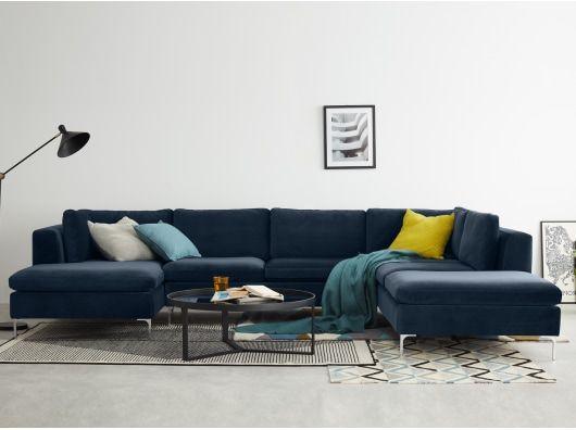 Monterosso Right Hand Facing Corner Sofa Sapphire Blue Velvet Corner Sofa Sofa How To Make Corner Sofa