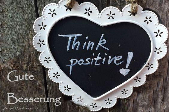 """Karte zur Genesung """"Think positive"""" von PHOTOGLÜCK auf DaWanda.com"""