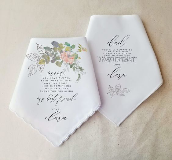 CUSTOM MESSAGE- Wedding Gift To Parents - Wedding Handkerchief For Mother and Father - Gift Set - Thank you Gift - Personalized Gift