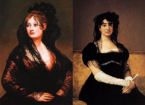 Франсиско Гойя. Слева – Портрет донны Исабель де Порсел. Справа – Портрет доньи Антонии Зарате