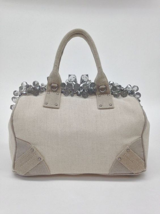 replica prada clutch - Authentic Prada Natural Mistolino Canvas Crystal Cluster Tote Bag ...