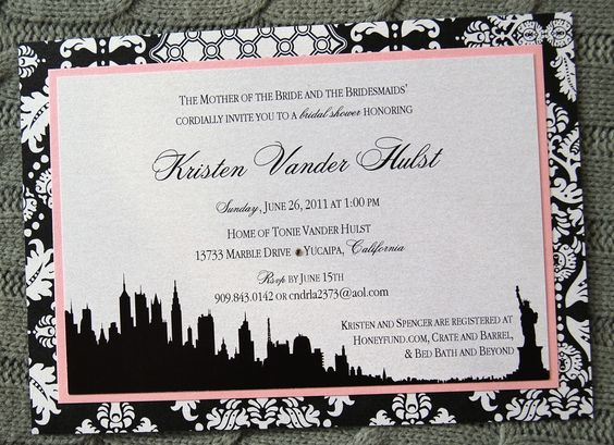 NYC New York City Bridal Shower Invitation - Patterned Damask Black & White and Light Pink with Swarowski Crystal Accent -  by The Satin Bow