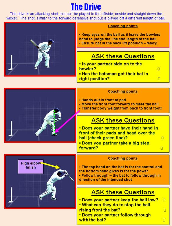 Batting cards for the drive - Cricket techniques to use in physical education lessons during the Ashes test.