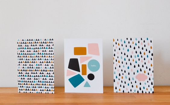 CLOUD, TRIANGLES & SHAPES. Set of 3 cards w/ envelopes.