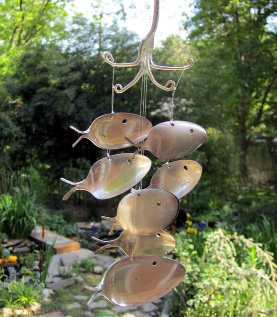 Silver spoons antique silver and spoons on pinterest for Fish wind chimes