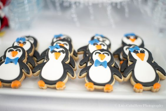 adorable penguin cookies at a baby shower see more party ideas at