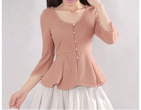 Nude/ Black/ Pink Cotton blouse women shirt fashion shirt vintage ...