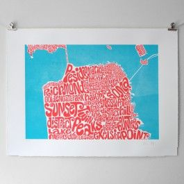 Typographic Map of San Francisco, screen printed limited colour edition of 100, signed and numbered.