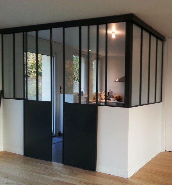 Porte coulissante 2 vantaux esprit atelier pinterest portes - Porte verriere coulissante ...