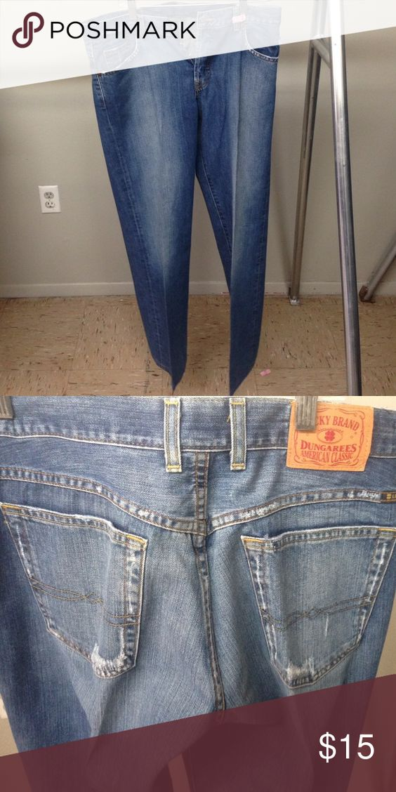 Lucky Brand Jeans Non-stretch denim Lucky Brand Jeans. Size 10/30. Four button front instead of zip up. Like new condition with slightly distressed trim on the pockets. J18 Lucky Brand Jeans Straight Leg