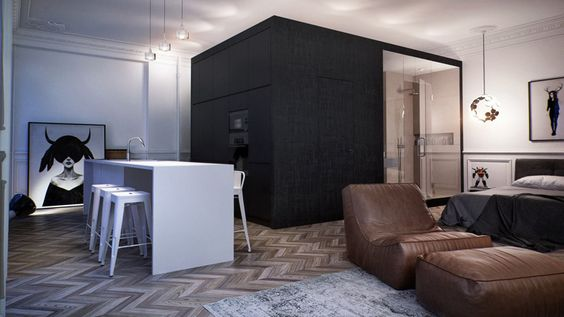 Black, white and brown. Modern. French Neoclassicism, including high ceilings, magnificent herringbone hardwood flooring, plaster cornices...and all this in Moscow?! Russian architecture firm INT2 architecture created this 55m2 masterpiece that juxtaposes classic with modern and the result is stunning.