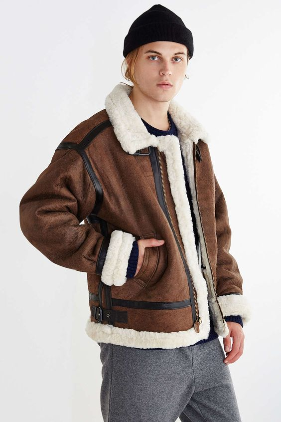 alpha industries b 3 sheepskin bomber jacket urban outfitters