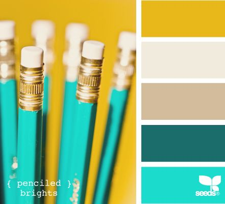 "penciled brights - I'm pretty much liking anything yellow and turquoise now. Never thought I'd like that combination. Also, this is like ""blind me aqua"" so something a little more subtle would be nice.:"