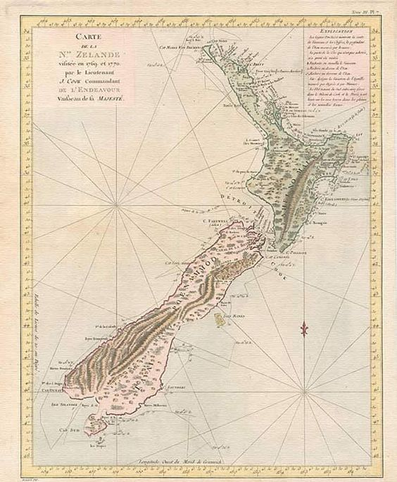 Old Map of New Zealand by James Cook, 1770  (It details the route of the good ship Endeavour at the time of its discovery.)