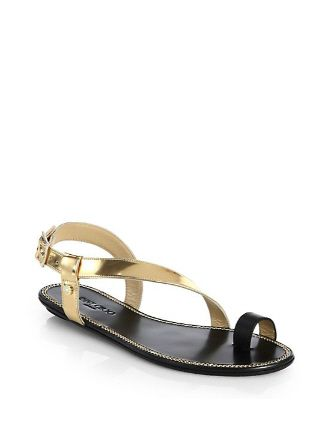 JIMMY CHOO Neru Mirror Leather Toe Ring Sandals