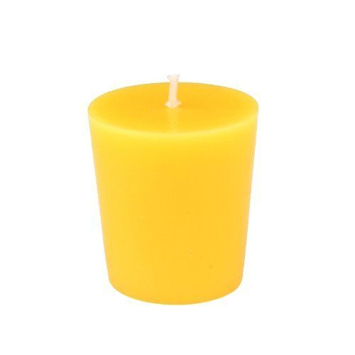 "Yellow Votive Candles (12pc/Box) by Zest Candle. $11.49. Burn Time: 15 Hours. Prices are per box of 12 candle. Size: 1.75"" Diameter x 1.8"" H. 100% Handpoured  Unscented  Our yellow votive candles use 100% cotton wicks which give the cleanest and longest lasting burn. These unscented votive candles burn exceptionally long and have solid color all the way through. Use the straight sided votives with a votive holder for optimum burn time.  PLEASE NOTE: Actual color m..."