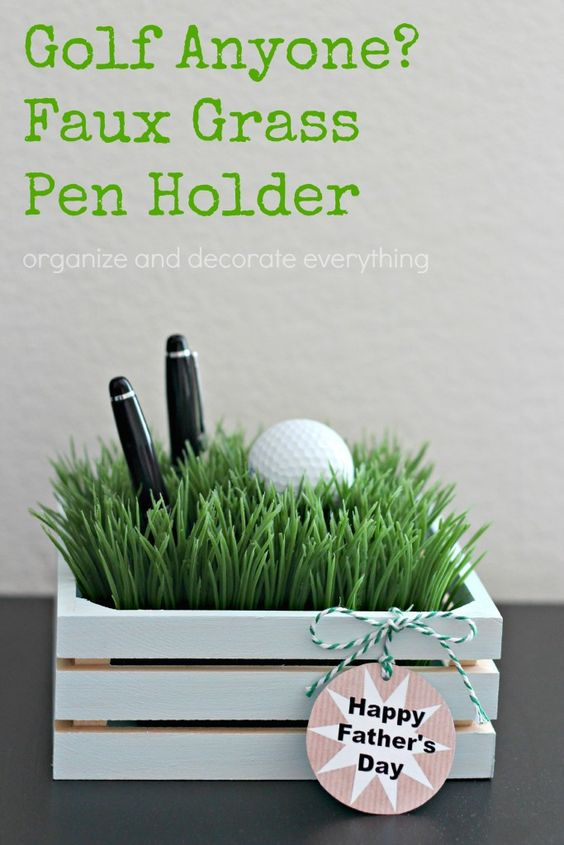 Faux Grass Pen Holder with Father
