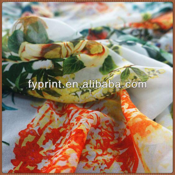 8mm Digital Printing Silk Georgette Fabric for silk scarf $9~$12.5
