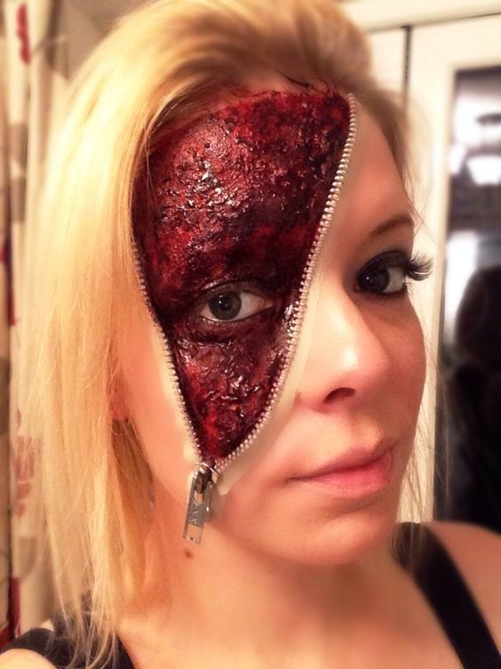 Maquillage Halloween Zipper.Zipper Halloween Make Up Ideen With Images Zipper Halloween Makeup Halloween Makeup Creepy Halloween Makeup