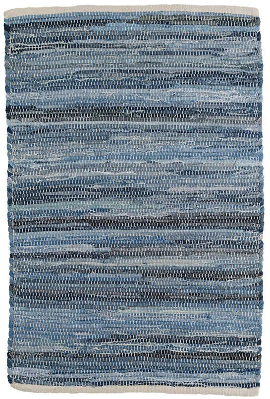 A New Update On Our Always Democratic Denim Rag Rug Finer Yarns And A Tighter Weave Add A Casual Note To Any Spot Whe Rugs On Carpet Denim Rag Rugs Cotton Rug